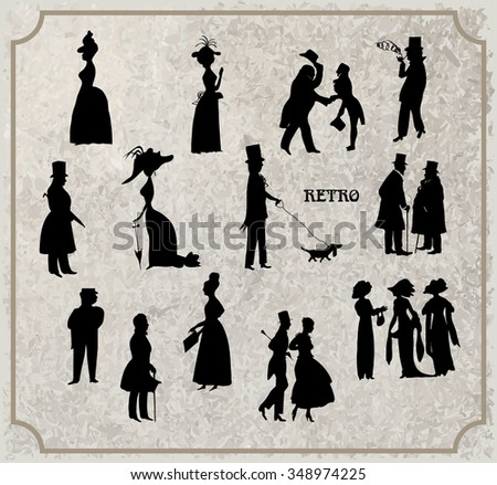 Ladies and gentlemen on walk. Symbolic vintage style, black and white silhouette. Big vector collection - stock vector