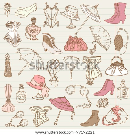 Ladies Fashion and Accessories doodle collection - hand drawn in vector - stock vector