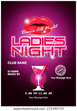 Ladies night party celebration.design or poster, backdrop, flyer, banner or template  - stock vector
