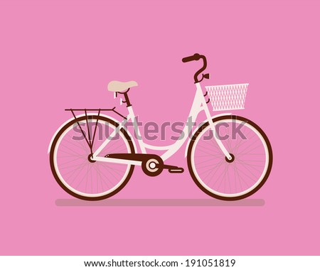 Ladies retro bicycle on pink background. - stock vector
