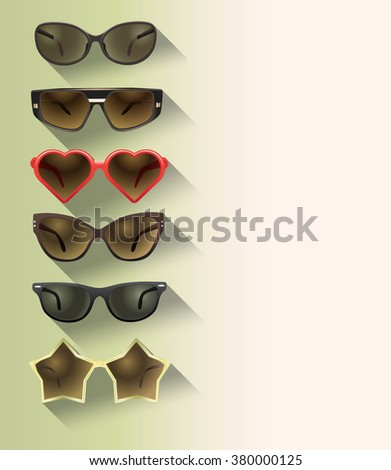 ladies sunglasses in a flat design, set of - stock vector
