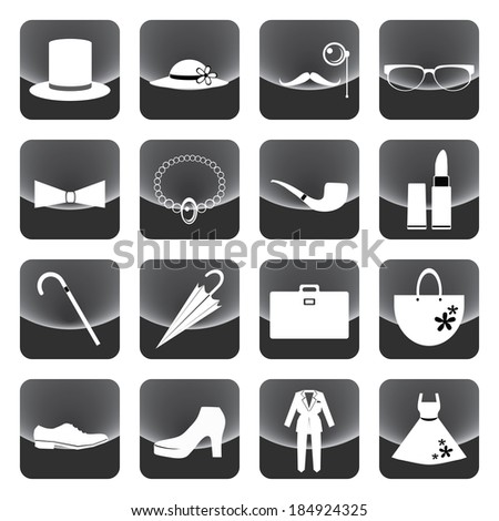 lady and gentleman costume button vector - stock vector