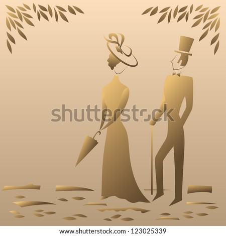 Lady and gentleman on a sentimental walk in the park, symbolic vintage style. Vector - stock vector