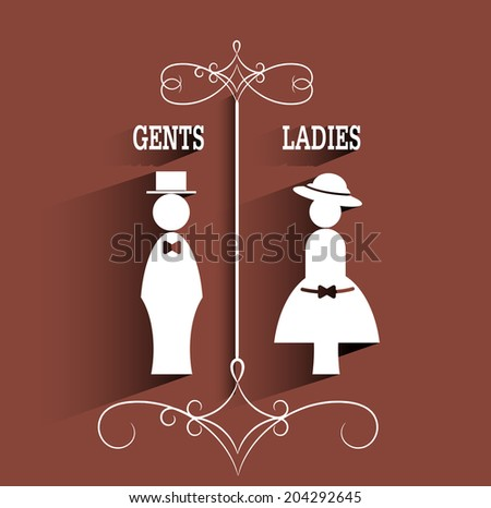 lady and gentleman sign with long shadow.vector - stock vector