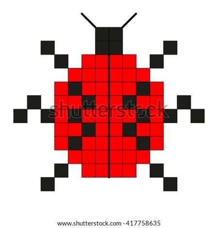 Lady bug,pixel. - stock vector