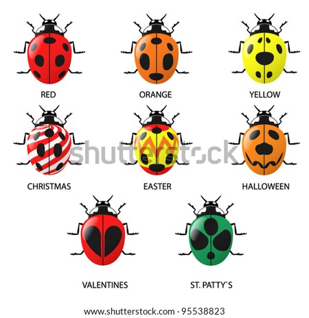 Lady Bugs (real and imagined). A set of 9 Lady Bugs both real and imagined (includes Christmas, Easter, Halloween, Valentine and St. Patty`s day themed Lady Bugs). - stock vector