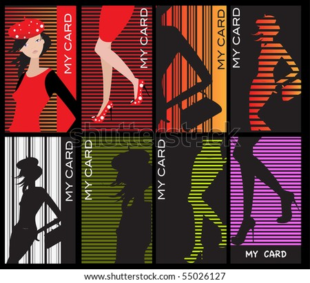 Lady business cards - stock vector