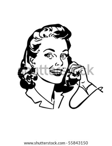 Lady Chatting On The Phone - Retro Clip Art - stock vector