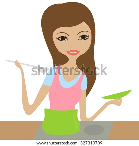 Lady cooking - stock vector