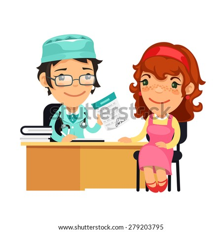 Lady Doctor Giving a Prescription to Her Female Patient. Isolated on white background. - stock vector