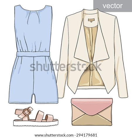 Lady fashion set of summer outfit. Illustration stylish and trendy clothing. Jumpsuit, shorts, jacket, clutch, bag, sandals. Vector. - stock vector