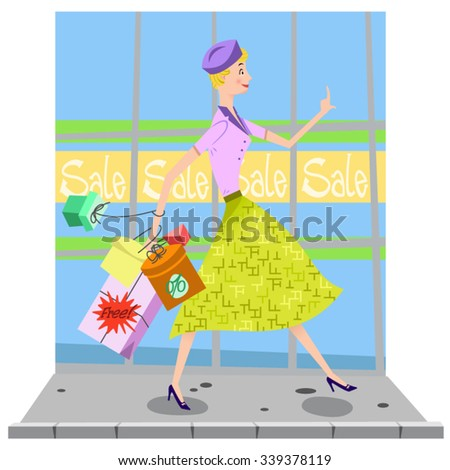 Lady in a shopping spree carrying lots of shopping bags on a sidewalk in front of a storefront with sale signs (Fifties style)  - stock vector