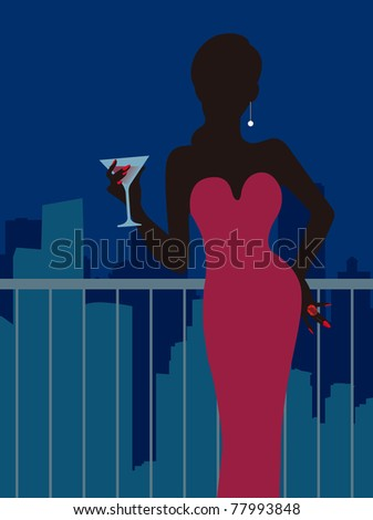 Lady in the bar - stock vector