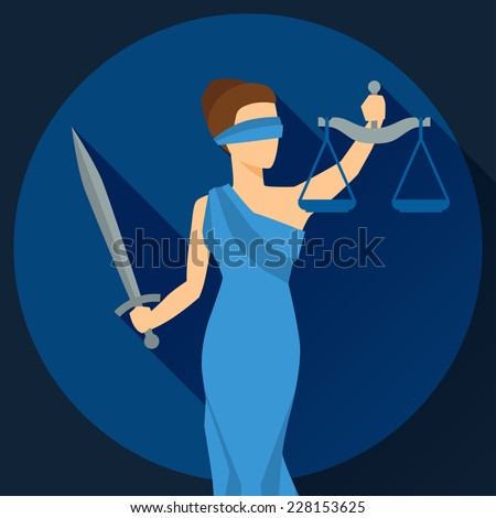 Lady justice illustration in flat design style. - stock vector