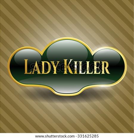 Lady Killer gold badge or emblem - stock vector