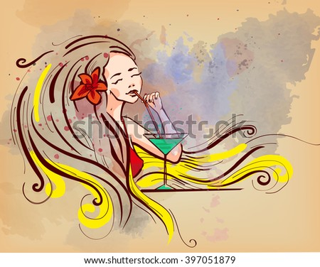 Lady long hair with cocktail with flower - stock vector