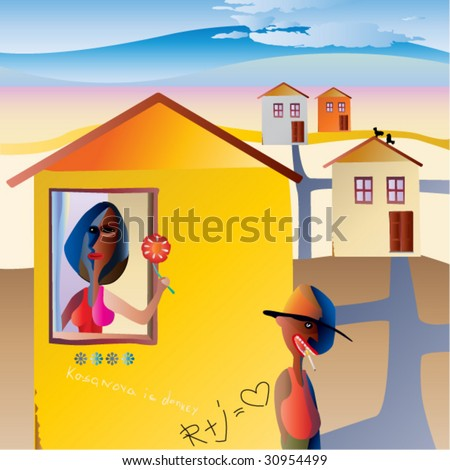 Lady pending prince - stock vector