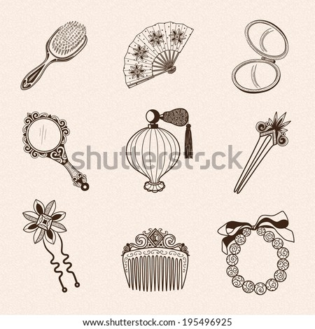 Lady's vintage beauty accessories collection. Hand drawn vintage style. Eps 10 vector illustration. - stock vector