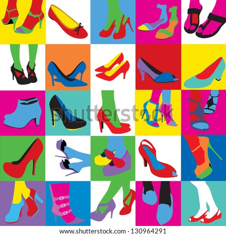 Lady shoes Pop art style - stock vector
