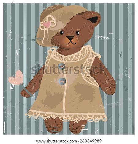 Lady Teddy Bear. Vector illustration. - stock vector