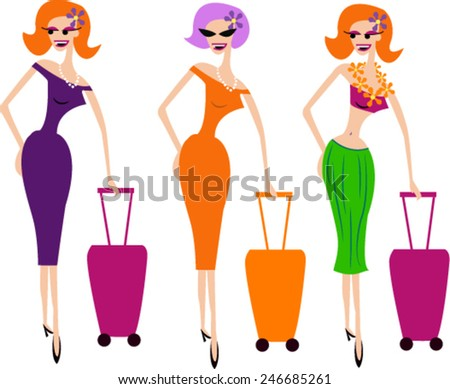 lady traveling - stock vector