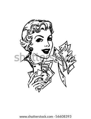 Lady With Cash - Retro Clip Art - stock vector
