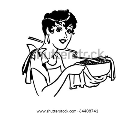 Lady With Casserole - Retro Clipart Illustration - stock vector