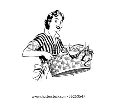 Lady With Laundry Basket - Retro Clip Art - stock vector