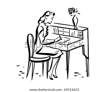 Lady Writing At Desk - Retro Clipart Illustration