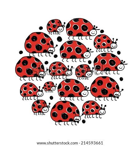 Ladybird family, frame for your design - stock vector