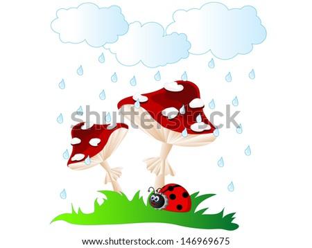 Ladybird under red mushroom umbrella in rain - stock vector