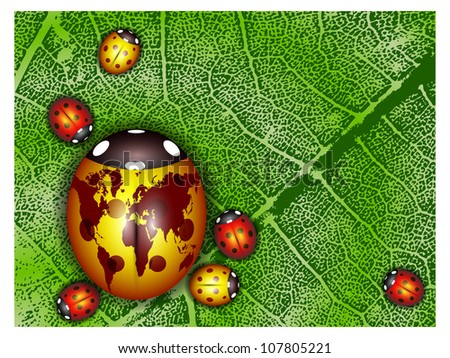 Ladybird with a world map on a green leaf - stock vector