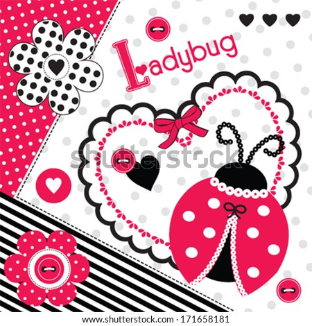 ladybug background invitation card vector illustration - stock vector