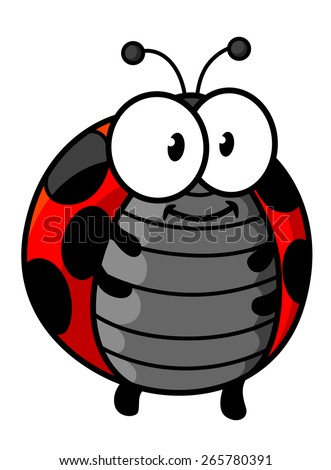 Ladybug cartoon character showing cute smiling red and black spotted bug with little legs, funny antennas and googly eyes for childish decor design - stock vector