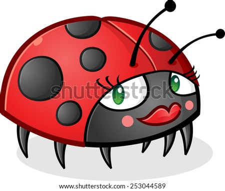 Ladybug Cartoon Character wearing Makeup - stock vector