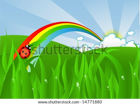 Ladybug On Grass And Rainbow - stock vector