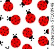ladybug seamless pattern, abstract texture; vector art illustration - stock vector
