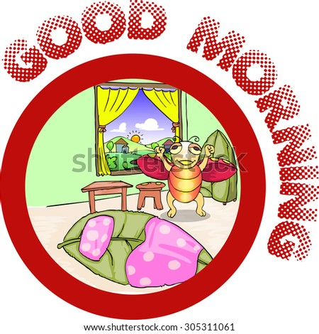 ladybug wake up in the morning cartoon illustration - stock vector