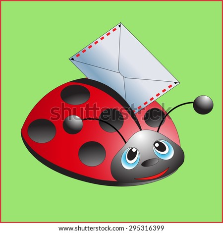 Ladybug with the letter. Message. Vector illustration.