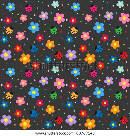 Ladybugs and flowers on dark background - stock vector