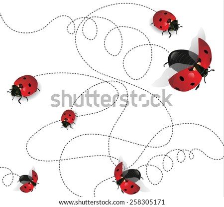 Ladybugs on white background-transparency blending effects and gradient mesh-EPS 10. - stock vector