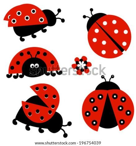 ladybugs set - stock vector