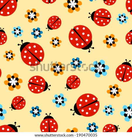 ladybugs with flowers on yellow seamless pattern - stock vector