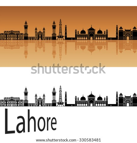 Lahore skyline in orange background in editable vector file - stock vector
