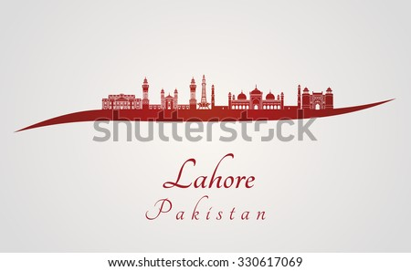 Lahore skyline in red and gray background in editable vector file - stock vector