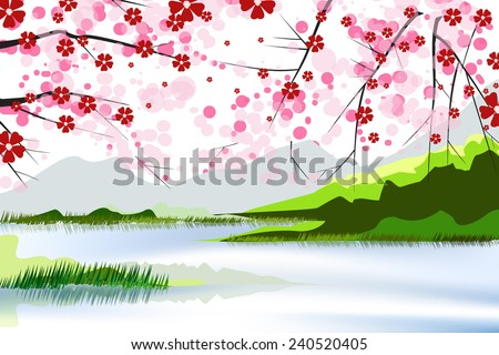 lake and flower - stock vector
