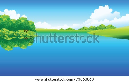Lake and green landscape - stock vector