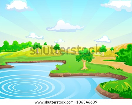 lake and tropical landscape background on sunny day - stock vector