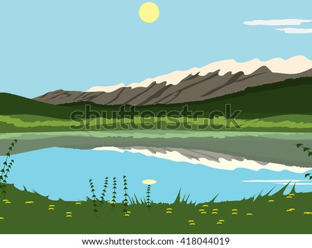 lake at the mountains in sunny day background