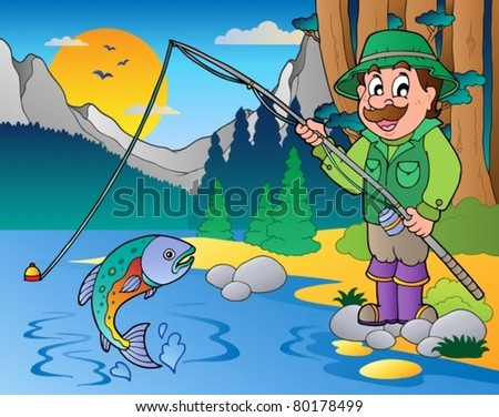 Lake with cartoon fisherman 1 - vector illustration.